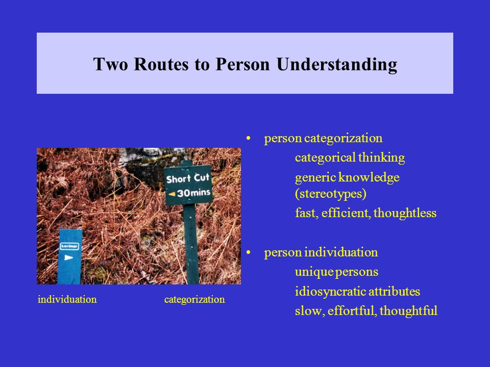 Two Routes to Person Understanding person categorization categorical thinking generic knowledge (stereotypes) fast, efficient, thoughtless person individuation unique persons idiosyncratic attributes slow, effortful, thoughtful individuationcategorization