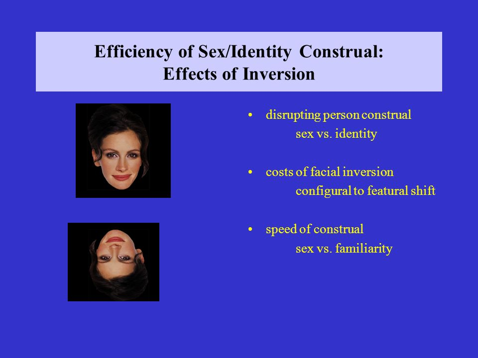 Efficiency of Sex/Identity Construal: Effects of Inversion disrupting person construal sex vs.