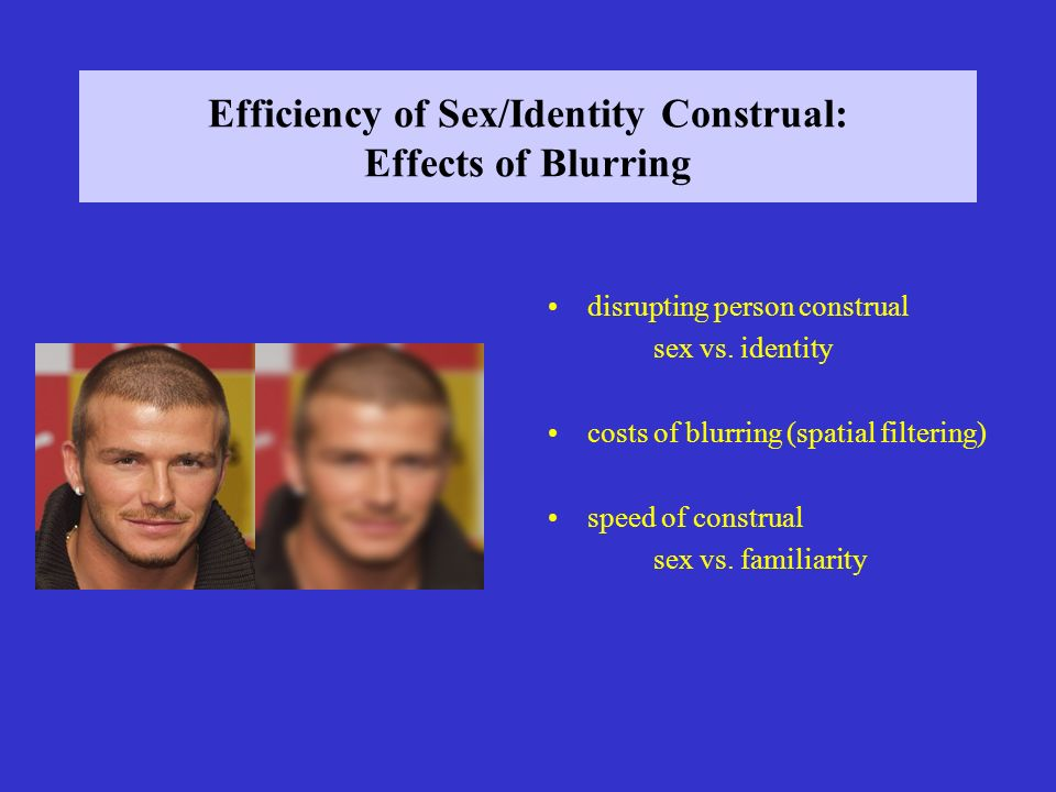 Efficiency of Sex/Identity Construal: Effects of Blurring disrupting person construal sex vs.