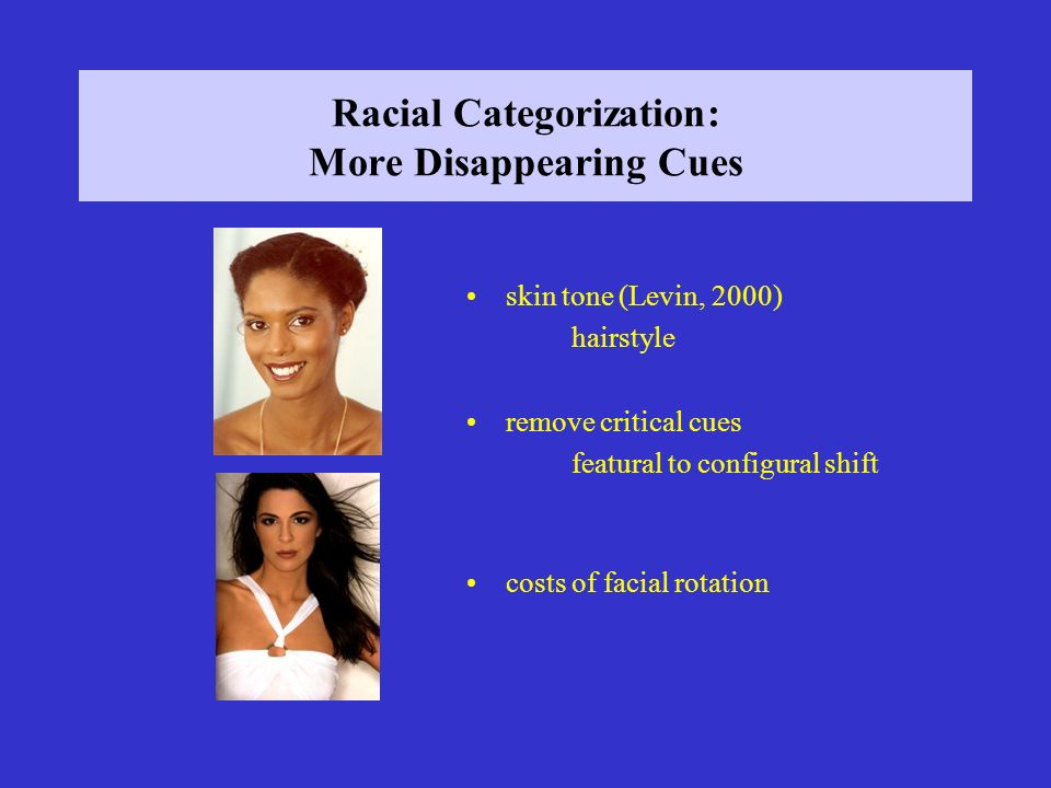 Racial Categorization: More Disappearing Cues skin tone (Levin, 2000) hairstyle remove critical cues featural to configural shift costs of facial rotation