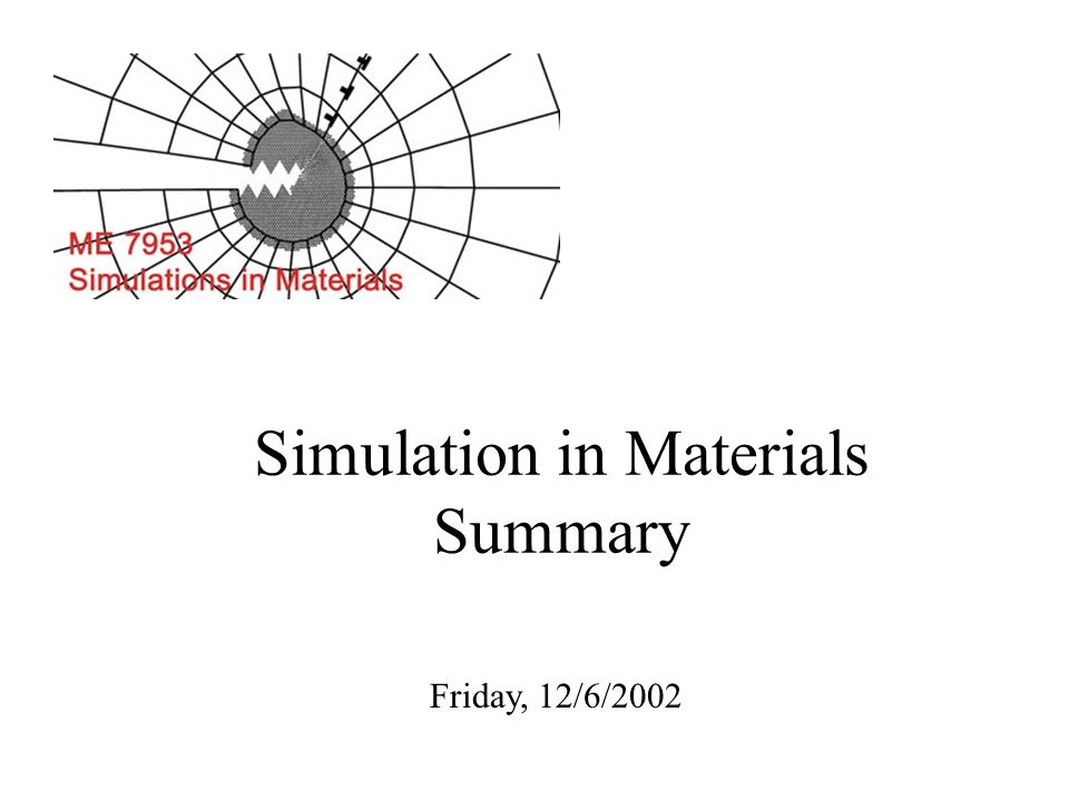 Simulation in Materials Summary Friday, 12/6/2002