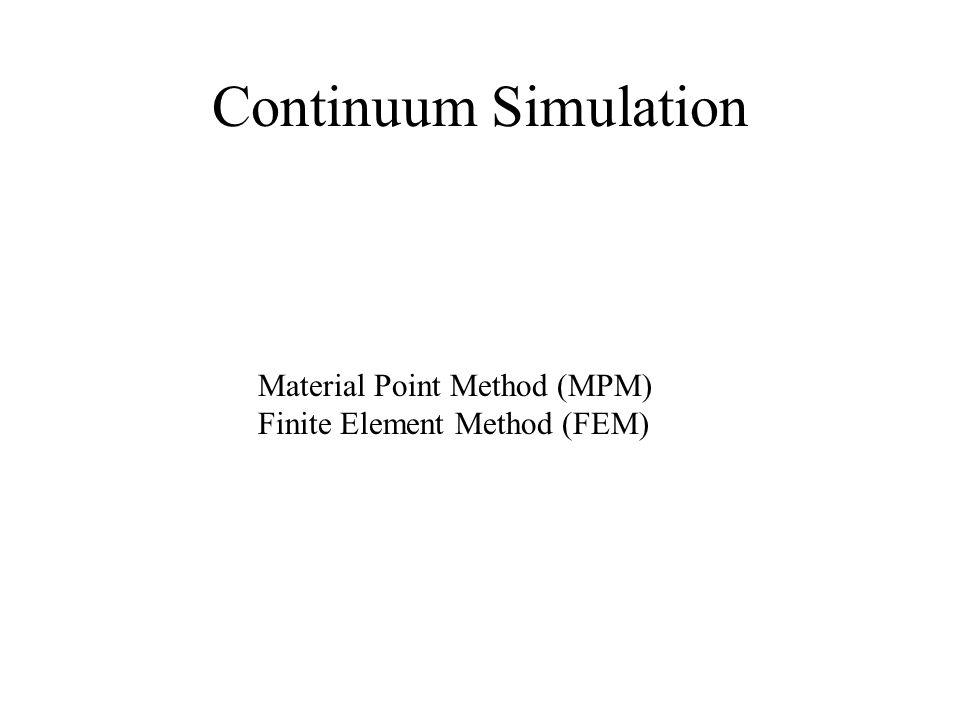 Continuum Simulation Material Point Method (MPM) Finite Element Method (FEM)