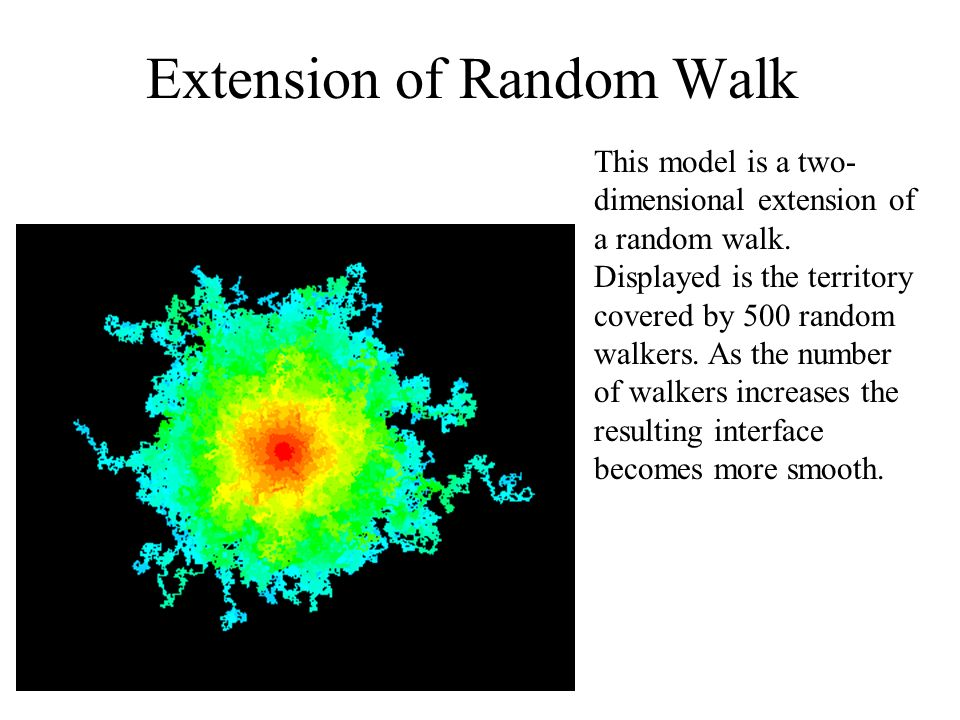 Extension of Random Walk This model is a two- dimensional extension of a random walk. Displayed is the territory covered by 500 random walkers. As the