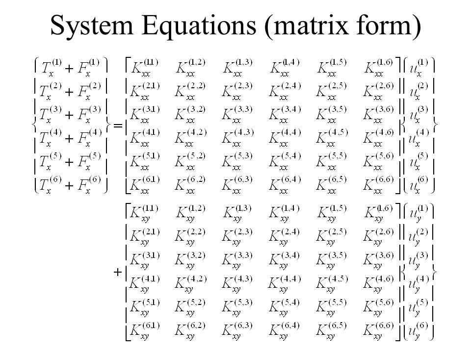 System Equations (matrix form)