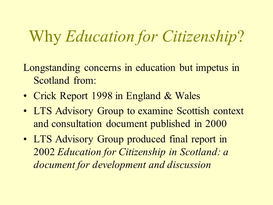 Why Education for Citizenship.