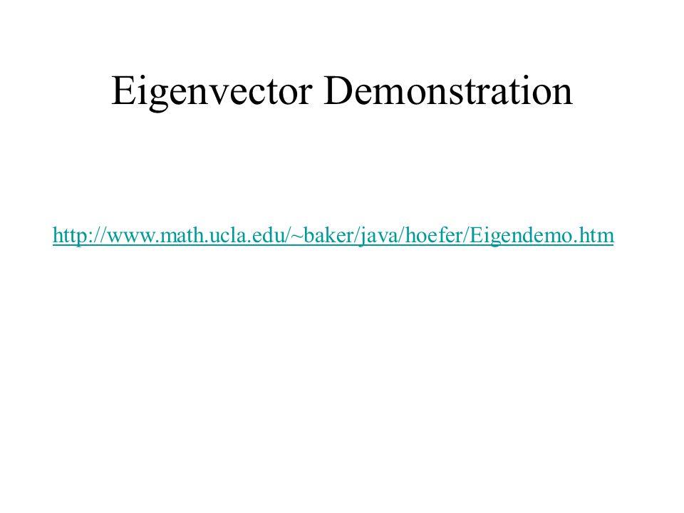 Eigenvector Demonstration http://www.math.ucla.edu/~baker/java/hoefer/Eigendemo.htm