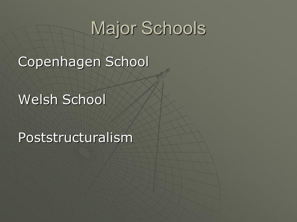 Major Schools Copenhagen School Welsh School Poststructuralism