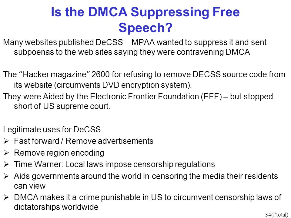 34(#total) Is the DMCA Suppressing Free Speech.