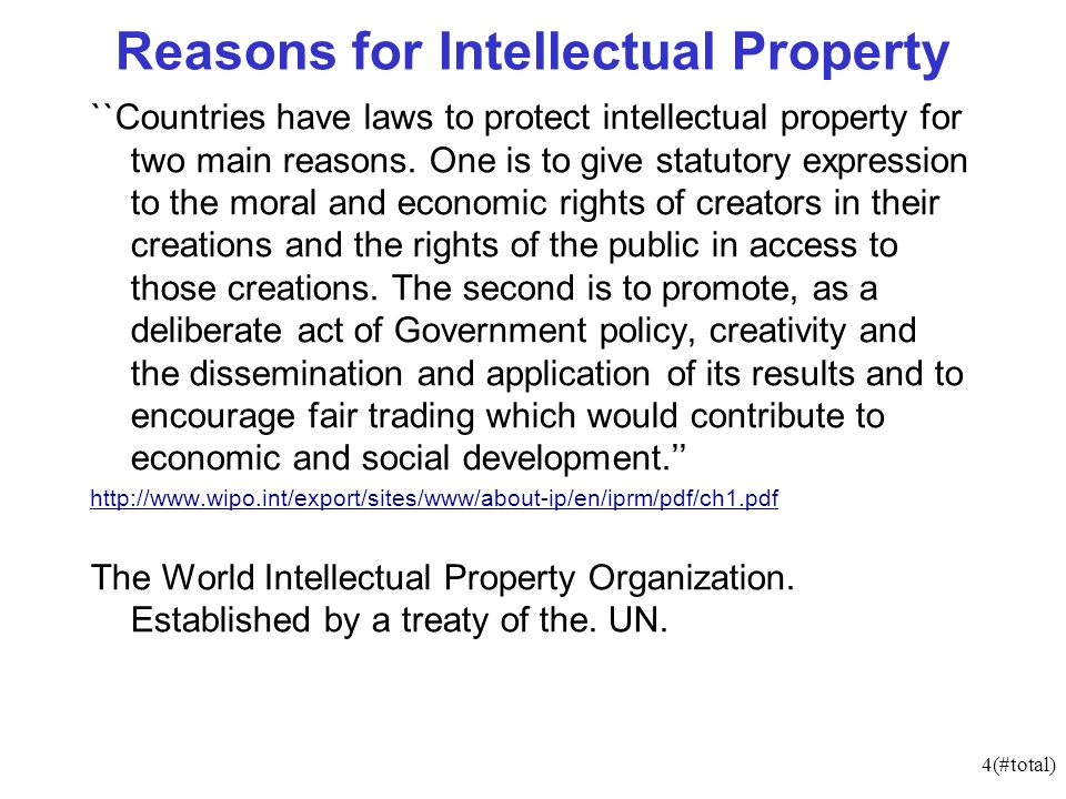 4(#total) Reasons for Intellectual Property ``Countries have laws to protect intellectual property for two main reasons.