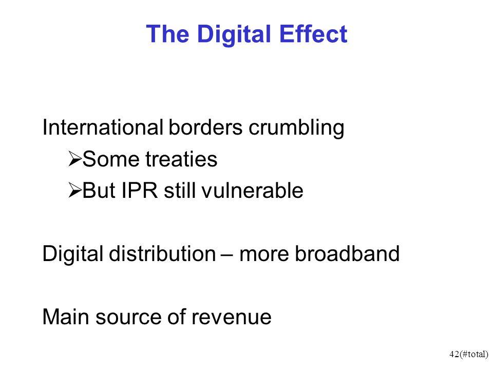 42(#total) The Digital Effect International borders crumbling Some treaties But IPR still vulnerable Digital distribution – more broadband Main source of revenue