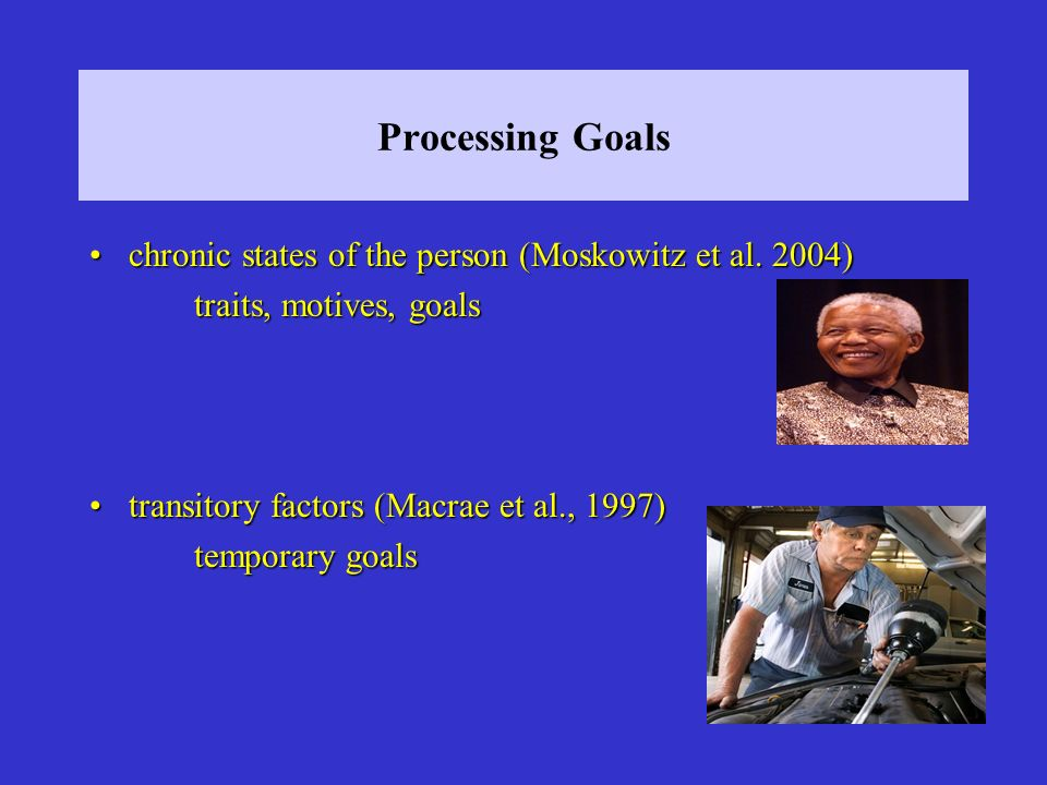 Processing Goals chronic states of the person (Moskowitz et al. 2004)chronic states of the person (Moskowitz et al. 2004) traits, motives, goals trans