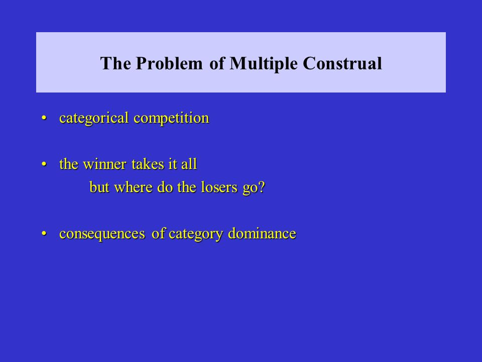 The Problem of Multiple Construal categorical competitioncategorical competition the winner takes it allthe winner takes it all but where do the loser