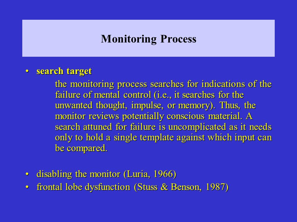 Monitoring Process search targetsearch target the monitoring process searches for indications of the failure of mental control (i.e., it searches for