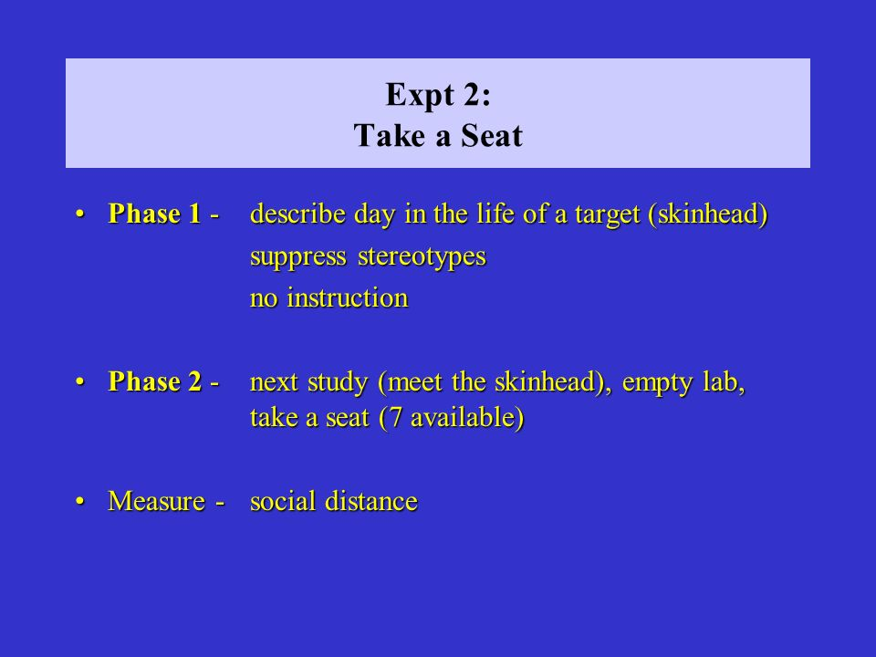 Expt 2: Take a Seat Phase 1 - describe day in the life of a target (skinhead)Phase 1 - describe day in the life of a target (skinhead) suppress stereo
