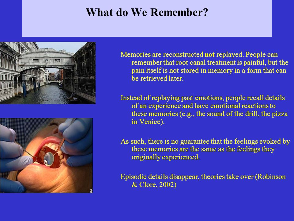 What do We Remember. Memories are reconstructed not replayed.