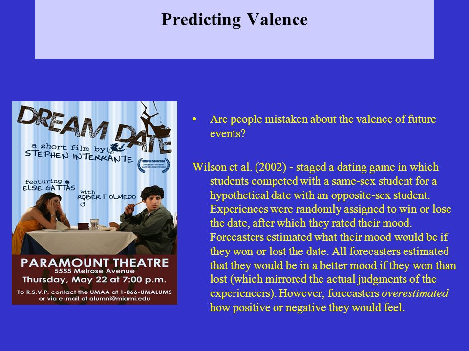 Predicting Valence Are people mistaken about the valence of future events.