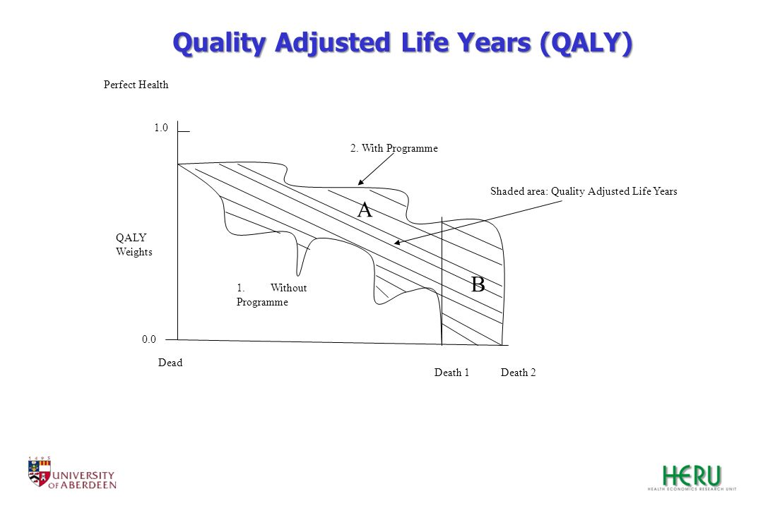 Dead Death 1Death 2 0.0 1.0 Perfect Health QALY Weights 1.Without Programme 2. With Programme A B Shaded area: Quality Adjusted Life Years Quality Adj