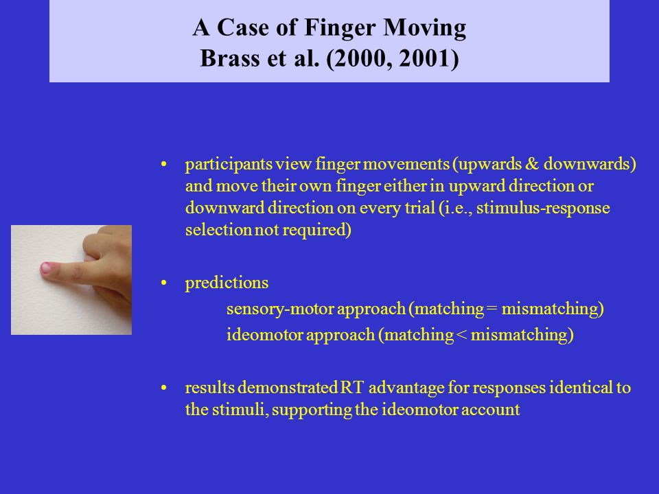 A Case of Finger Moving Brass et al. (2000, 2001) participants view finger movements (upwards & downwards) and move their own finger either in upward