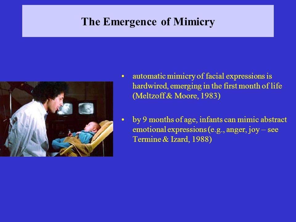 The Emergence of Mimicry automatic mimicry of facial expressions is hardwired, emerging in the first month of life (Meltzoff & Moore, 1983) by 9 month