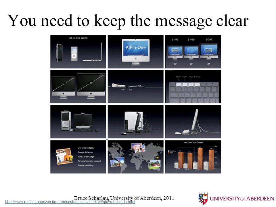 Bruce Scharlau, University of Aberdeen, 2011 You need to keep the message clear http://www.presentationzen.com/presentationzen/2007/09/steve-bill-redu.html