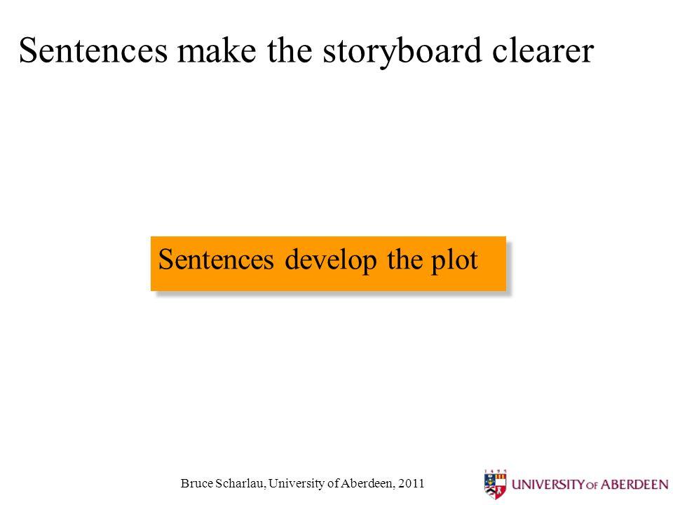 Bruce Scharlau, University of Aberdeen, 2011 Sentences make the storyboard clearer Sentences develop the plot