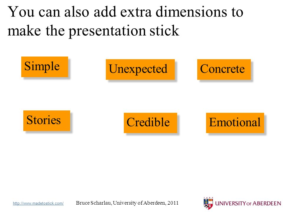 Bruce Scharlau, University of Aberdeen, 2011 You can also add extra dimensions to make the presentation stick Simple Unexpected Concrete Stories Credible Emotional http://www.madetostick.com/