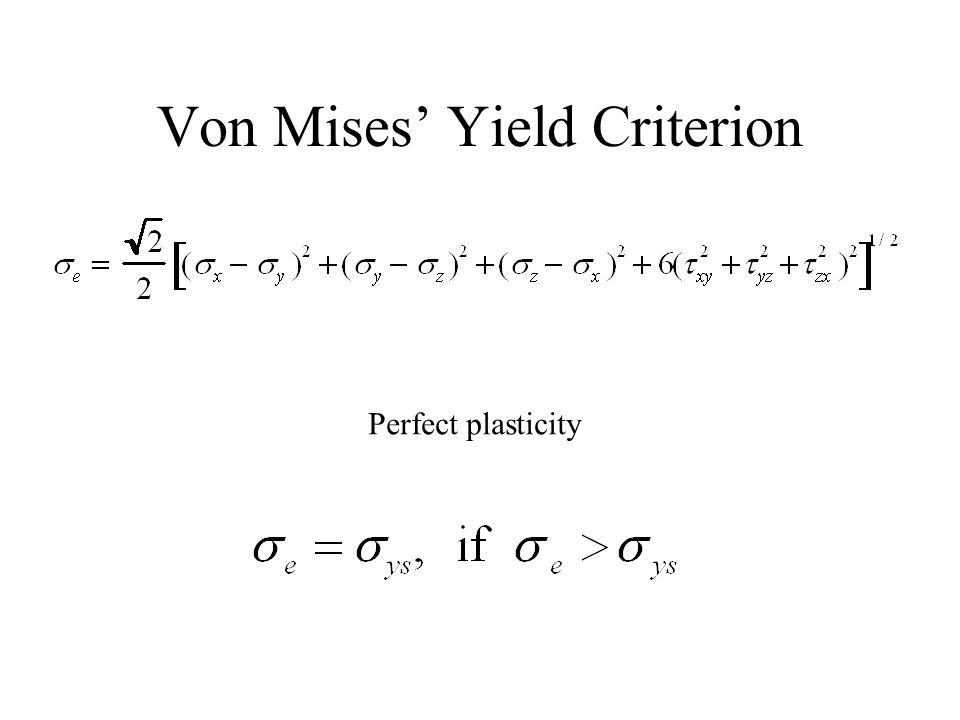Von Mises Yield Criterion Perfect plasticity