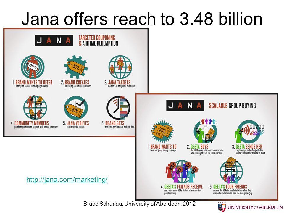 Jana offers reach to 3.48 billion Bruce Scharlau, University of Aberdeen, 2012 http://jana.com/marketing/