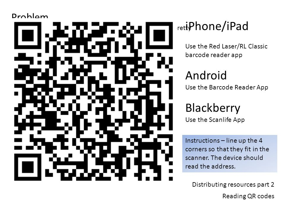 Distributing resources part 2 Reading QR codes Problem So weve made the process shorter but text entry is still pretty inefficient… Solution QR codes and they are what exactly….