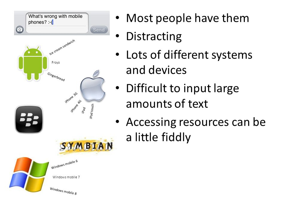 Most people have them Distracting Lots of different systems and devices Difficult to input large amounts of text Accessing resources can be a little fiddly Ice cream sandwich Gingerbread Froyo iPhone 3G iPhone 4G iPad iPod touch Windows mobile 6 Windows mobile 7 Windows mobile 8