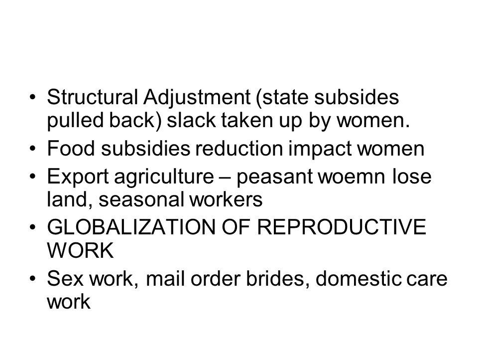 Structural Adjustment (state subsides pulled back) slack taken up by women.