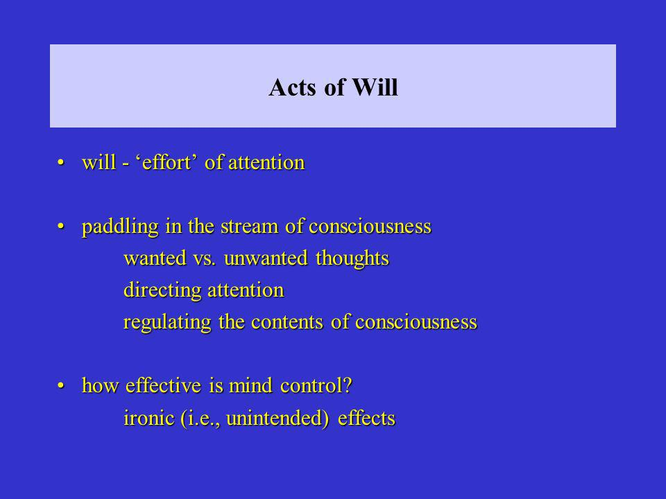 Acts of Will will - effort of attentionwill - effort of attention paddling in the stream of consciousnesspaddling in the stream of consciousness wante