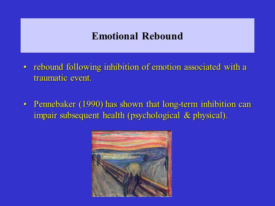 Emotional Rebound rebound following inhibition of emotion associated with a traumatic event.rebound following inhibition of emotion associated with a traumatic event.