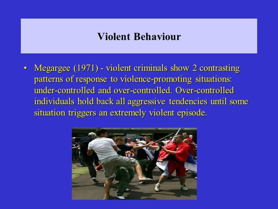 Violent Behaviour Megargee (1971) - violent criminals show 2 contrasting patterns of response to violence-promoting situations: under-controlled and o