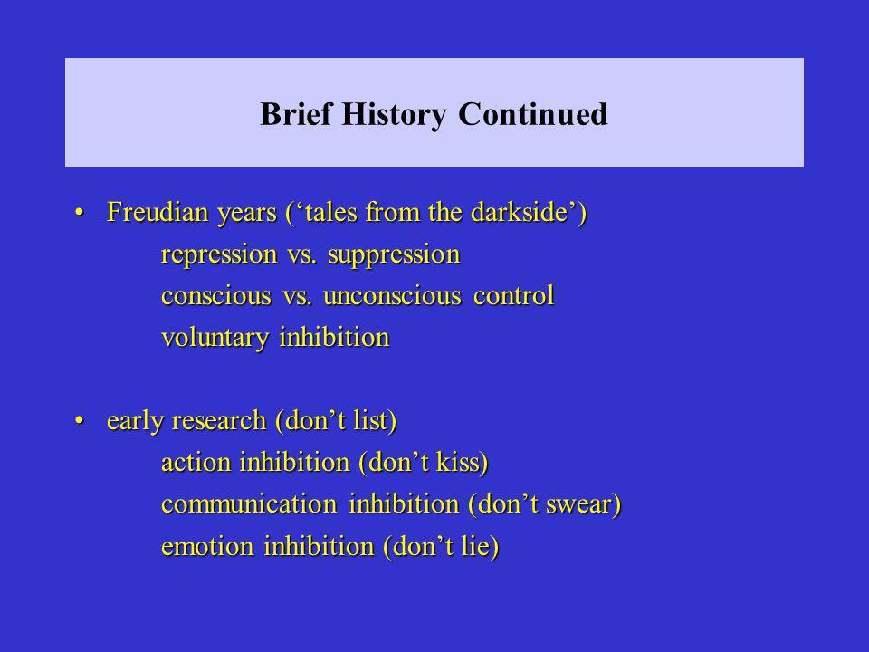 Brief History Continued Freudian years (tales from the darkside)Freudian years (tales from the darkside) repression vs. suppression conscious vs. unco