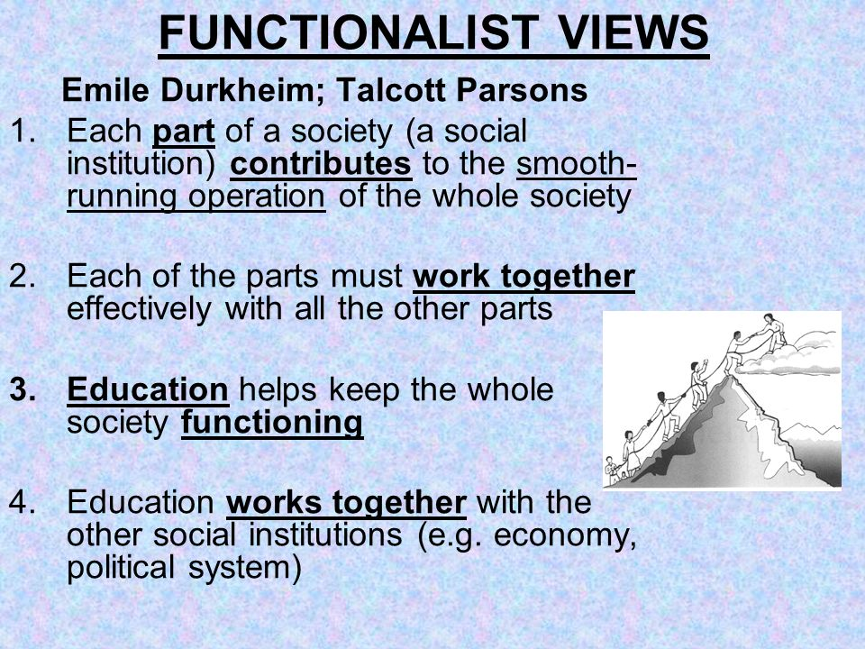 FUNCTIONALIST VIEWS Emile Durkheim; Talcott Parsons 1.Each part of a society (a social institution) contributes to the smooth- running operation of th