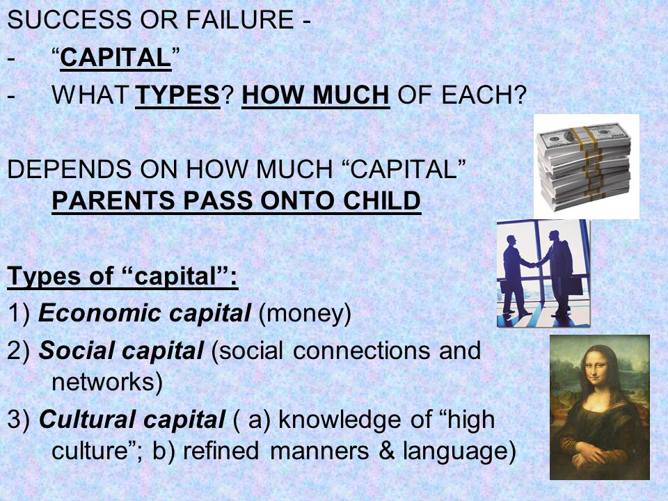 SUCCESS OR FAILURE - -CAPITAL -WHAT TYPES? HOW MUCH OF EACH? DEPENDS ON HOW MUCH CAPITAL PARENTS PASS ONTO CHILD Types of capital: 1) Economic capital