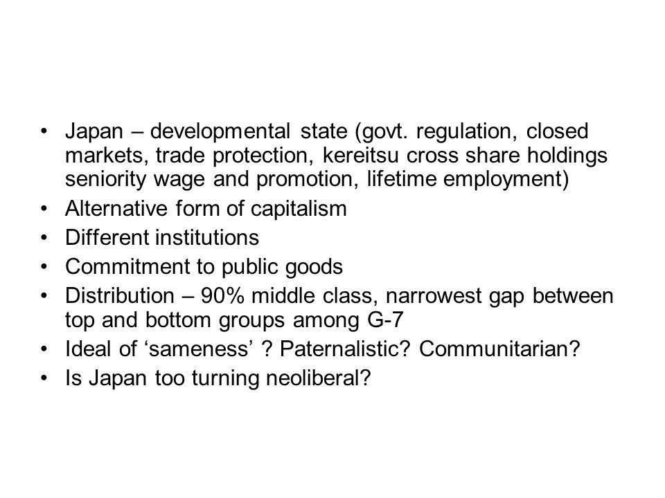 Japan – developmental state (govt.