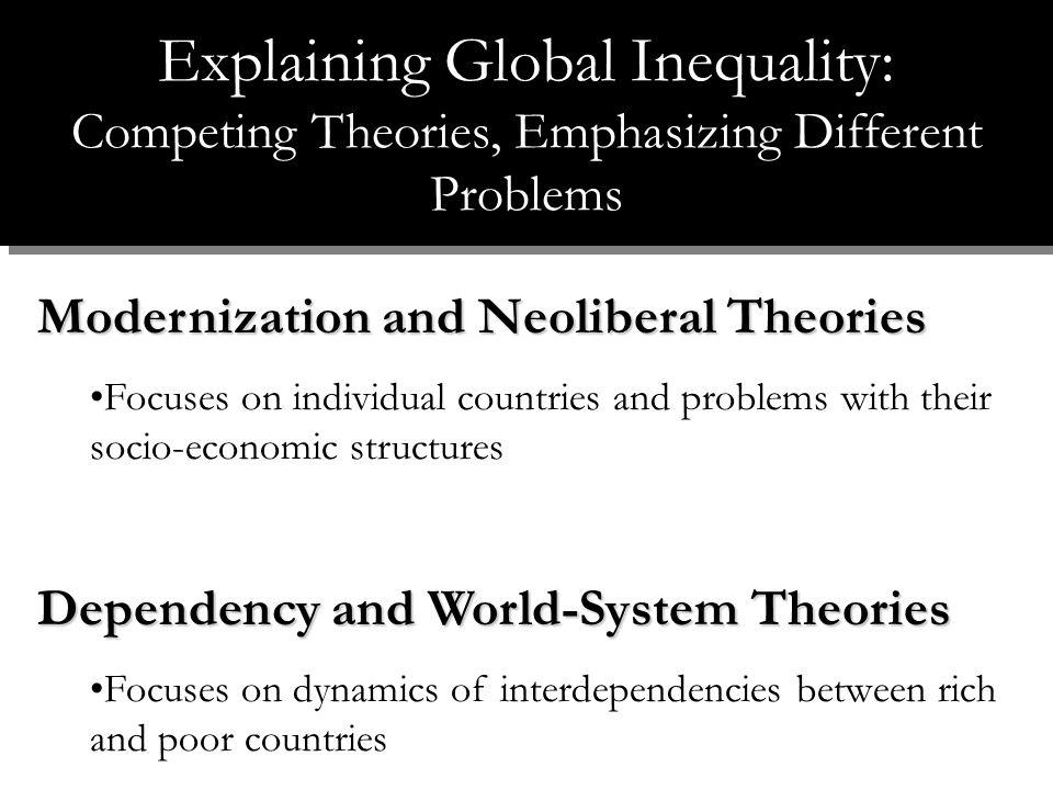Modernization and Neoliberal Theories Focuses on individual countries and problems with their socio-economic structures Dependency and World-System Theories Focuses on dynamics of interdependencies between rich and poor countries Explaining Global Inequality: Competing Theories, Emphasizing Different Problems
