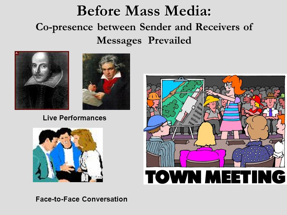 Mass Mediated Communication Media: Message delivered through technology (medium) Mass: One sender (mass) audience Unidirectional: Messages flow one- way Standardized: Same messages for all members of the audience Spatial-Temporal Disassociation: No co-presence at all.