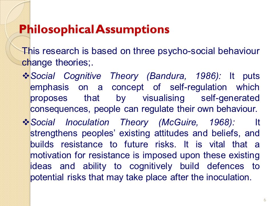 This research is based on three psycho-social behaviour change theories;. Social Cognitive Theory (Bandura, 1986): It puts emphasis on a concept of se