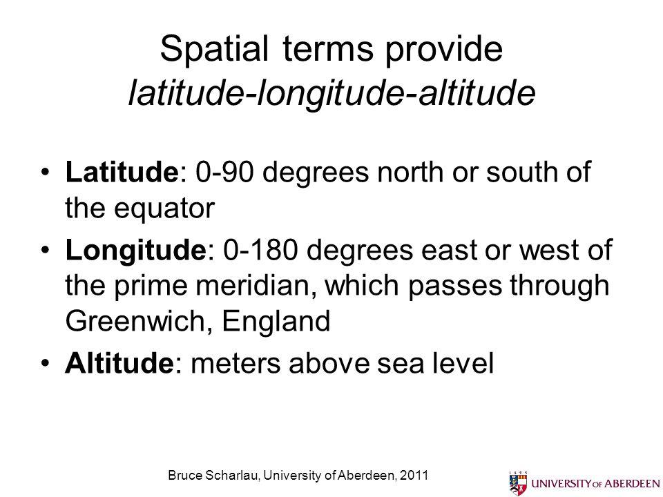 Bruce Scharlau, University of Aberdeen, 2011 Spatial terms provide latitude-longitude-altitude Latitude: 0-90 degrees north or south of the equator Lo