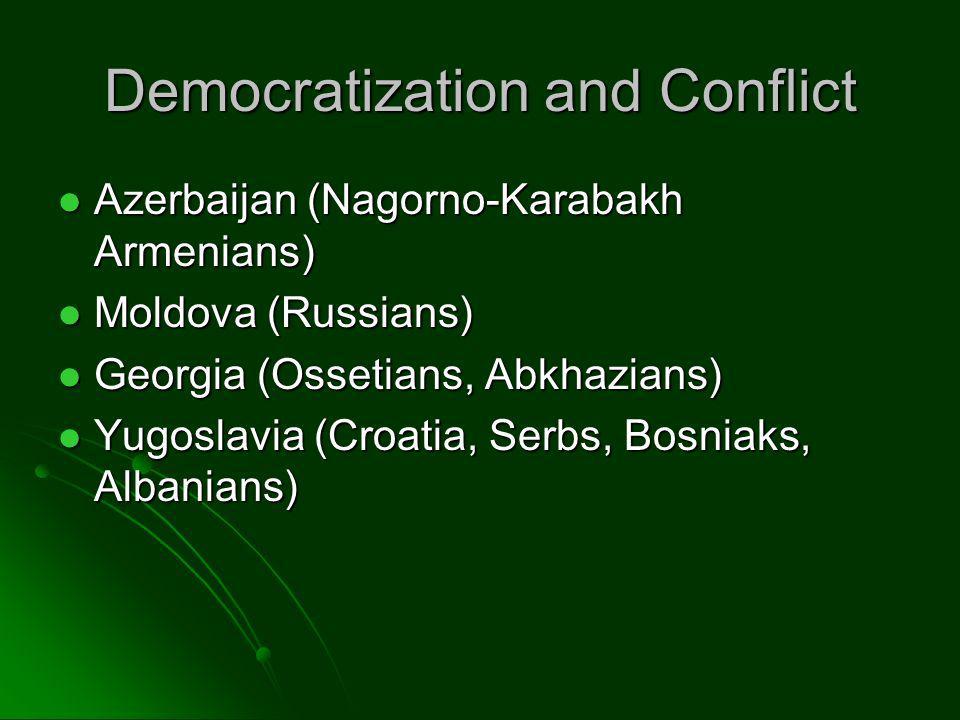 Democratization and Conflict Azerbaijan (Nagorno-Karabakh Armenians) Azerbaijan (Nagorno-Karabakh Armenians) Moldova (Russians) Moldova (Russians) Geo
