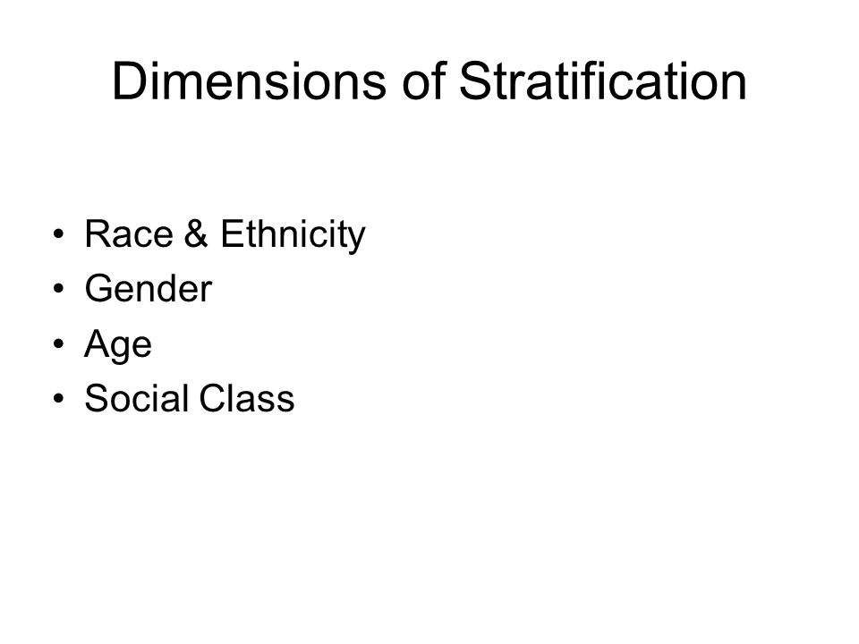 Dimensions of Stratification Race & Ethnicity Gender Age Social Class