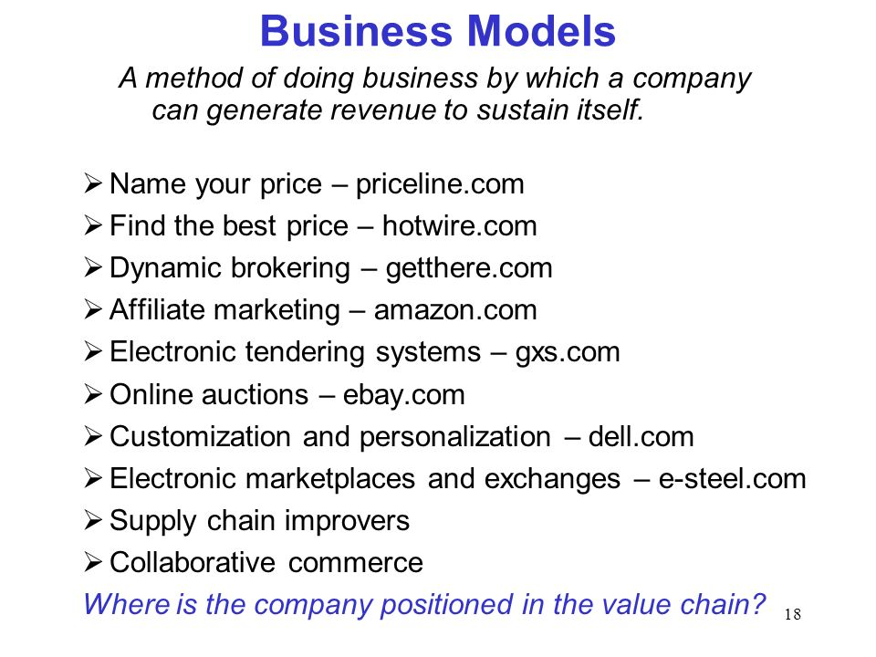 18 Business Models Name your price – priceline.com Find the best price – hotwire.com Dynamic brokering – getthere.com Affiliate marketing – amazon.com