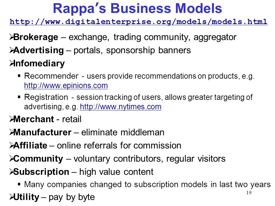 19 Rappas Business Models Brokerage – exchange, trading community, aggregator Advertising – portals, sponsorship banners Infomediary Recommender - use
