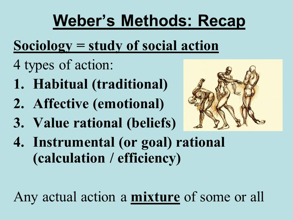 Webers Methods: Recap Sociology = study of social action 4 types of action: 1.Habitual (traditional) 2.Affective (emotional) 3.Value rational (beliefs