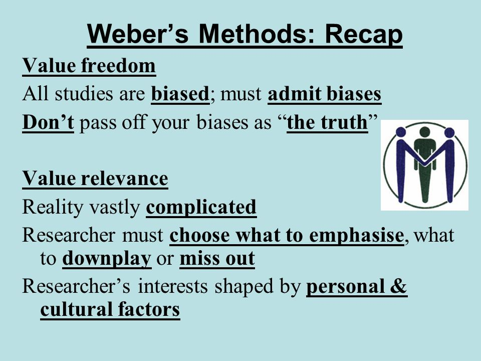 Webers Methods: Recap One-sided viewpoints Reality complicated – multiple factors Researcher can only look at some things Any research is one-sided 2 problems: Being unaware your research is one-sided Passing off a one-sided viewpoint as the truth