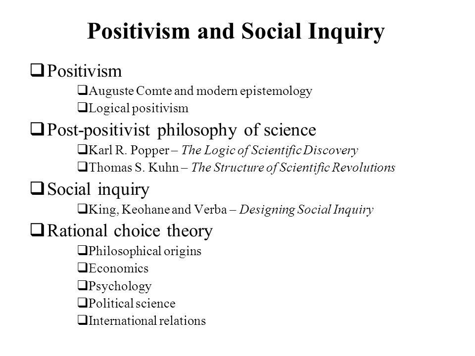 Positivism and Social Inquiry Positivism Auguste Comte and modern epistemology Logical positivism Post-positivist philosophy of science Karl R. Popper
