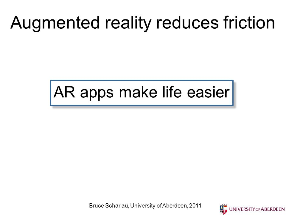 Augmented reality reduces friction AR apps make life easier Bruce Scharlau, University of Aberdeen, 2011